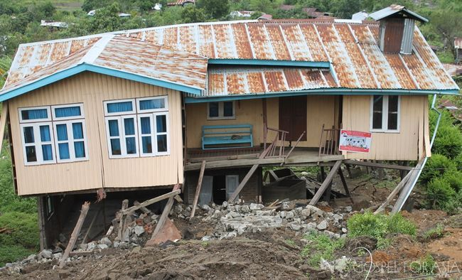 Believers were among those who lost their homes after floods and a landslide swept through their city.